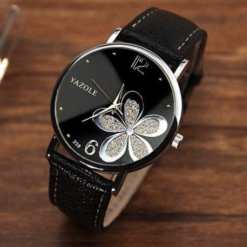 Yazole Round Dial Stainless Steel Back Water Resistance Flower Pattern Black Strap Leather Watch Malaysia