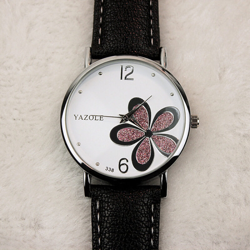 Yazole Round Dial Stainless Steel Back Water Resistance Flower Pattern Strap Leather Watch (Black&White) Malaysia