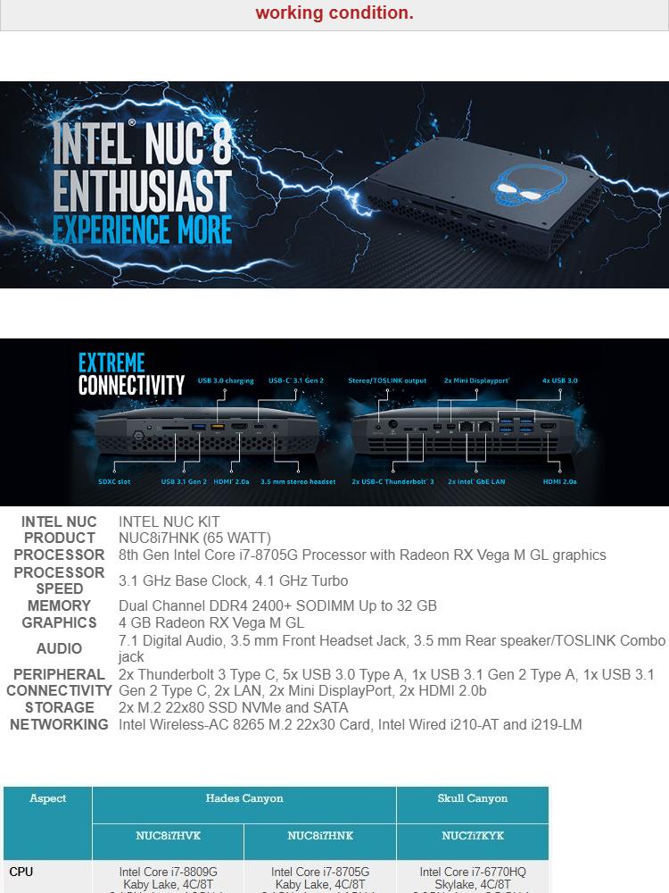 Intel NUC8i7HNK/32/512M2W10P L10 Hades Canyon Core i7 3 1GHz~4 1GHz Radeon  RX Vega GL Gaming Mini PC / Intel NUC + Windows 10 PRO
