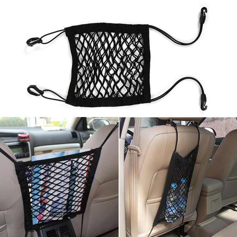 2 pocket Seat Back Net Bag Cargo Net Pet Barrier,Car Mesh Organizer for Purse Bag Phone Pets Children Kids Disturb Stopper