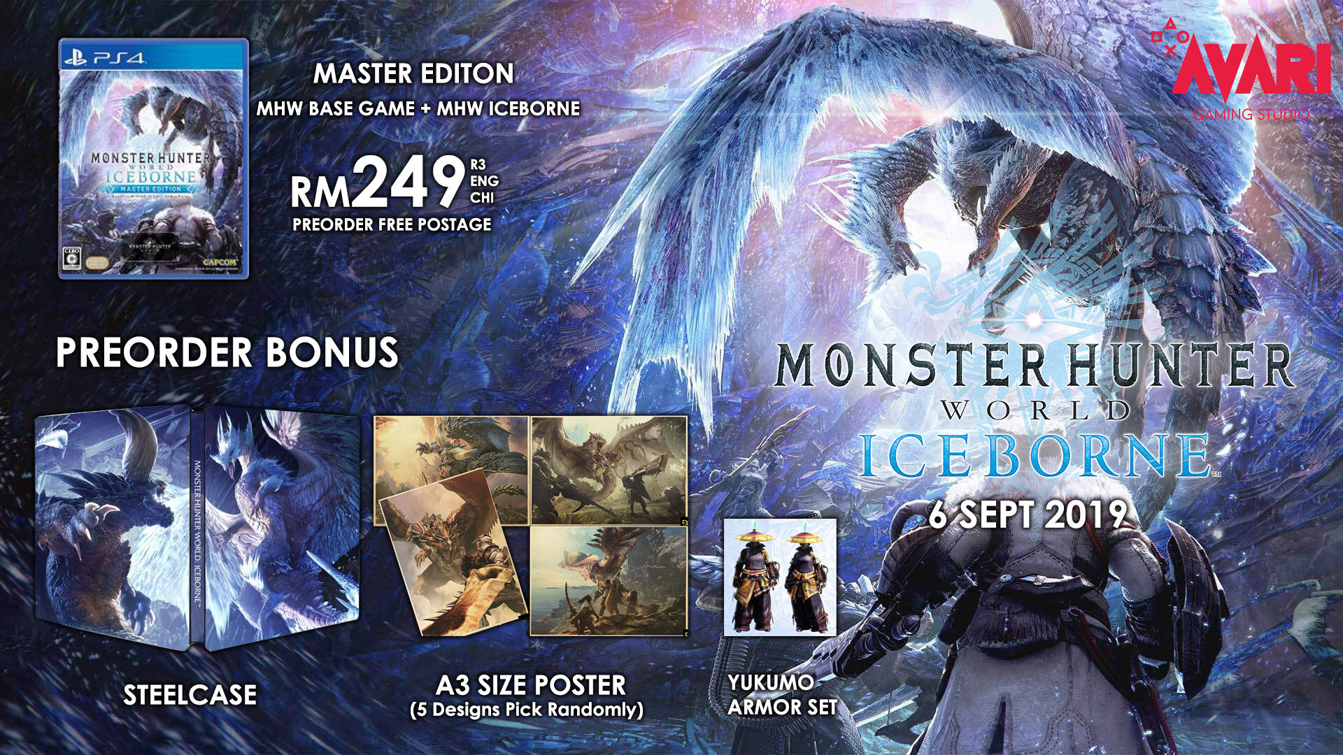 [PREORDER] [FREE A3 SIZE POSTER] [FREE STEELCASE] PS4 MONSTER HUNTER WORLD  ICEBORNE MASTER EDITION + CONTROLLER HOLDER R3 ENG CHI ETA 6 9 19