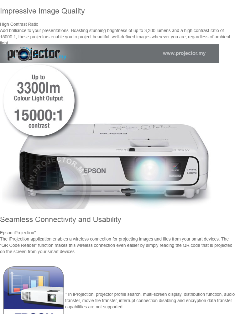 Epson EB-S41 SVGA 3300 Ansi Lumens 3LCD WIFI / Wireless (Optional)  Projector, HDMI / USB, VGA Port with Tripod Screen and Carry Bag