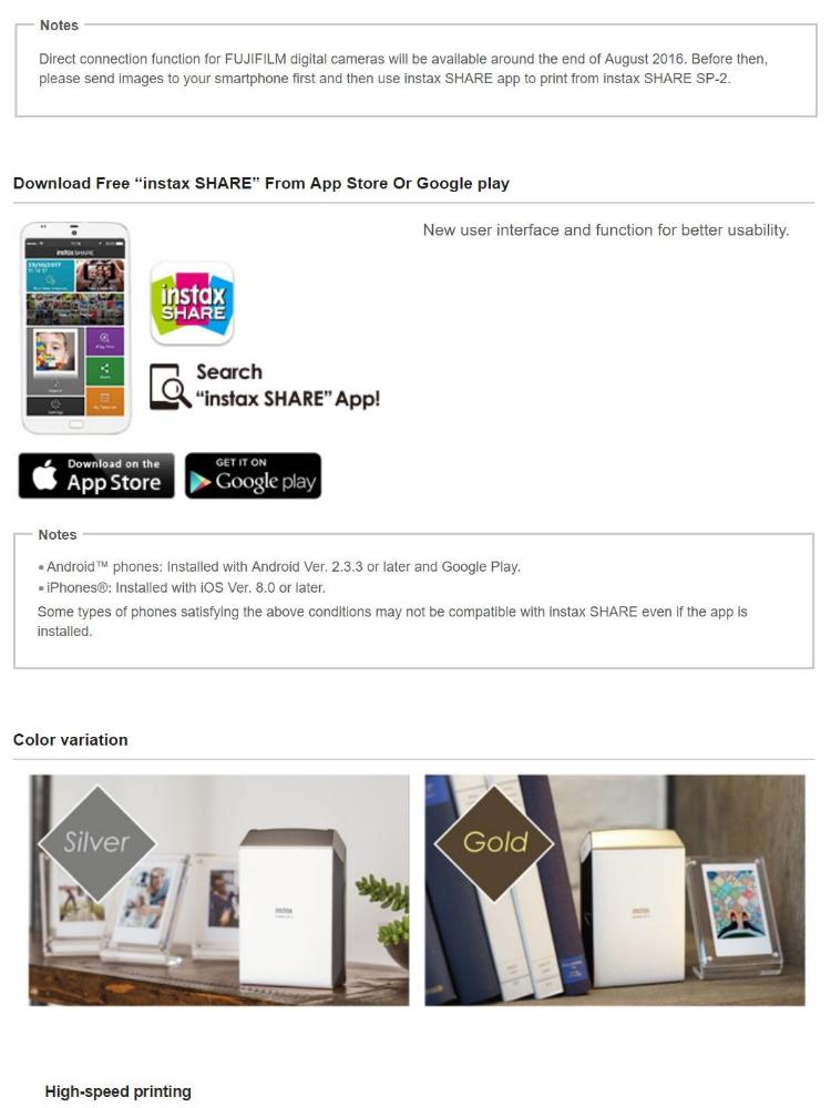 FujiFilm Instax Share SP-2 Printer SP2 Wifi Instant Printer Free Gutedama  Instax Mini Film (10's)