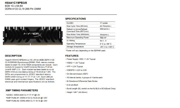 KINGSTON DESKTOP RAM HyperX 8GB 4133MHz Predator DDR4 HX441C19PB3/8
