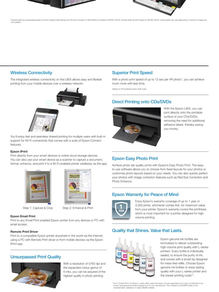 Epson L805 (Print/Wi-Fi) 6-colour Photo Original Ink Tank System Printer  comes with original starter inks