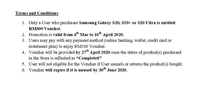 Samsung Galaxy S20 Lazada Official Launch Promotion Term & Conditions