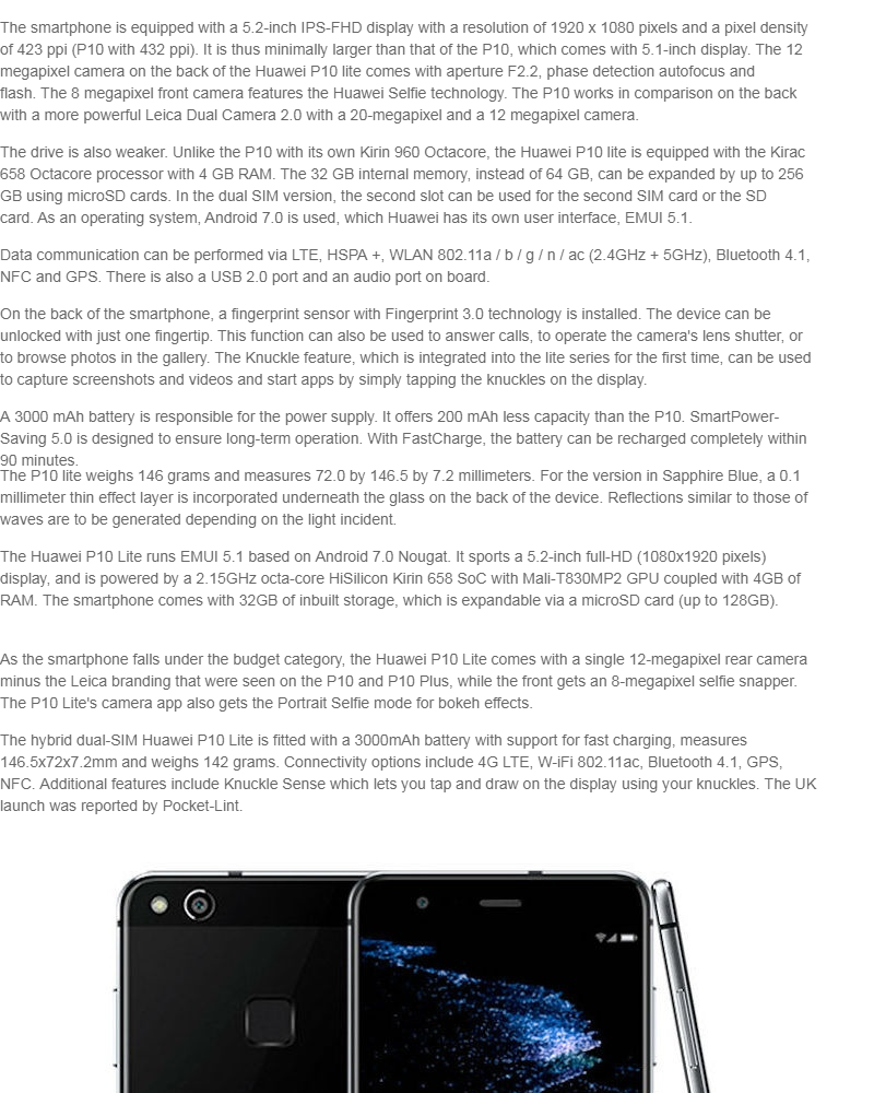 Huawei P10 Lite LTE 4GB + 32GB Dual Sim (Midnight Black) | New PGMall