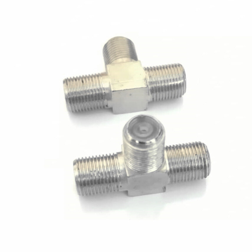 2PCS RG6 Connector Adapter Tee Joint F Type T RG6 2-Way Splitter Combiner  TV Coaxial Cable RG6