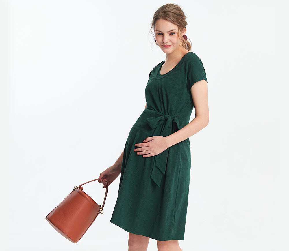 Mamaway Maternity and Nursing Side Tie Dress (Green)