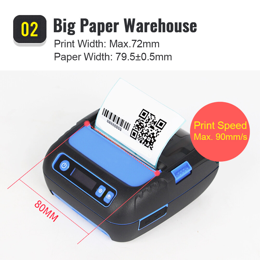 M80B 3 inch Bluetooth Barcode Label and Receipt Printer thermal qr code  sticker printer pocket printer for mobile phone
