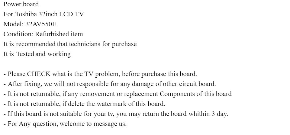 Power Suppy board For LCD TV Toshiba 32AV550E