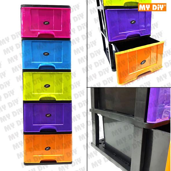 MYDIYHOMEDEPOT - Century Multicolor 5 Tier Plastic Drawer B9650MC / Storage  Box Drawer Plastic Cabinet Furniture 41L x 49W x 135H