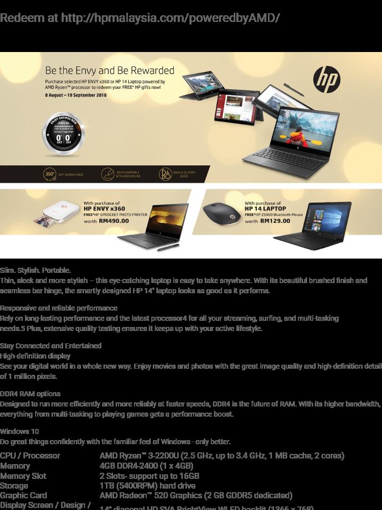 Hp 14 Cm0010ax 14 Laptop Notebook Amd Ryzen 3 2200u 4gb 1tb Amd 520 W10h