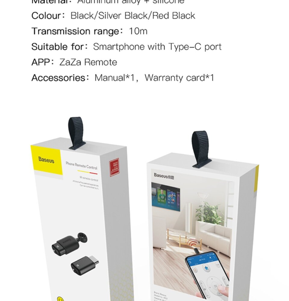 [Ready Stock] Baseus Smartphone IR Remote Control For Type-C