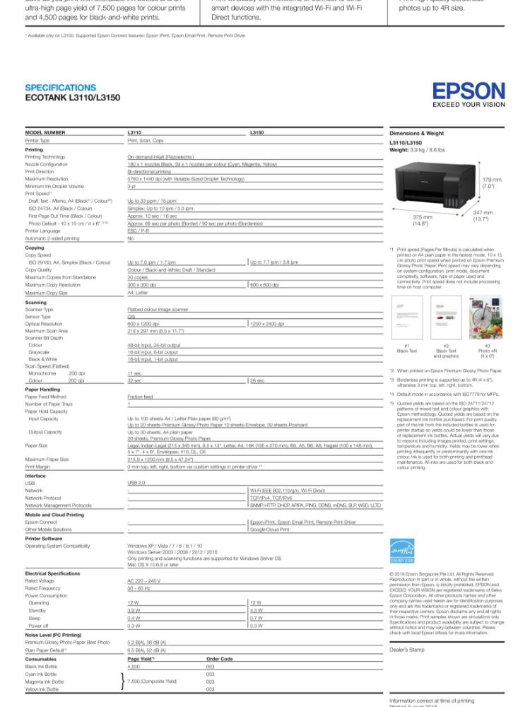 [Merdeka Cash back RM50] Epson EcoTank L3110 All-in-One Ink Tank Printer
