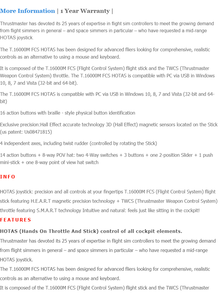 THRUSTMASTER T 16000M FCS HOTAS FLIGHT STICK FOR PC - 2960778