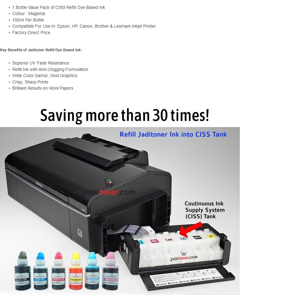 Refill Ink (Magenta - 100ml) For Epson / HP / Canon