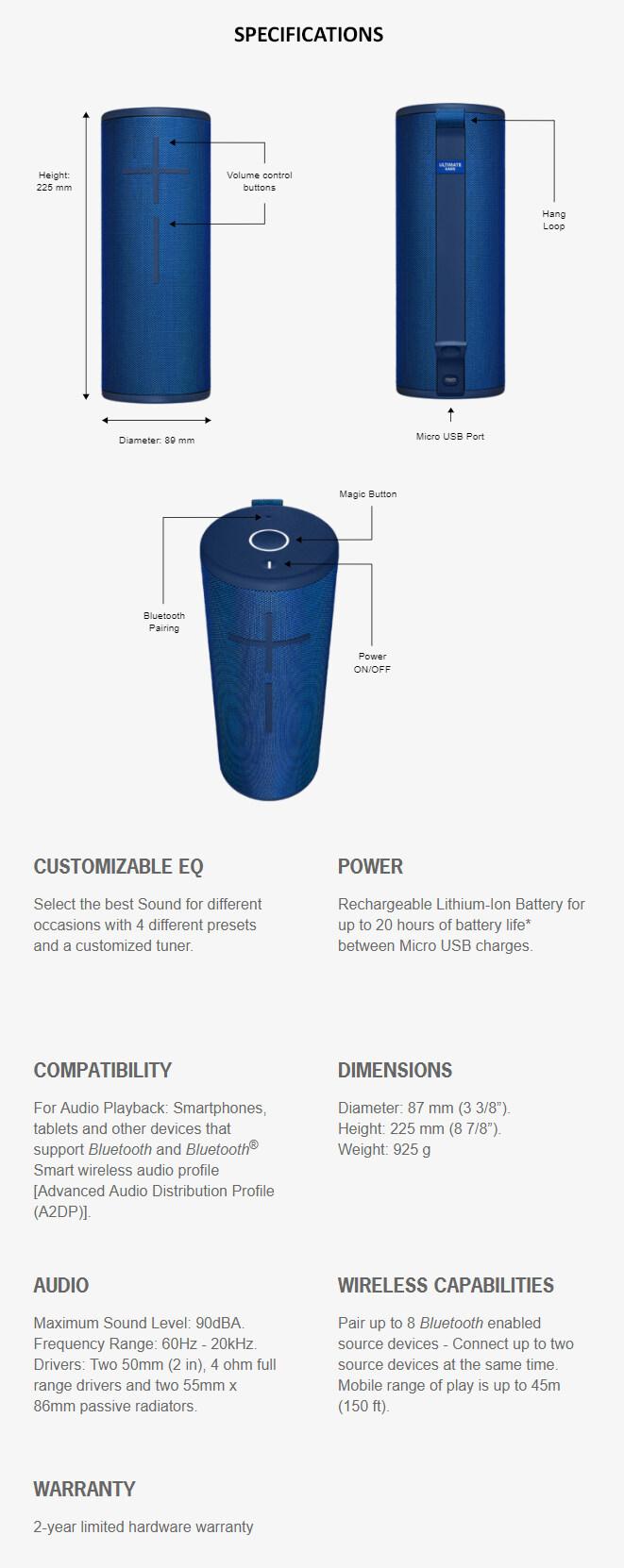 Ultimate Ears UE MEGABOOM 3 Portable Waterproof Wireless Bluetooth Speaker