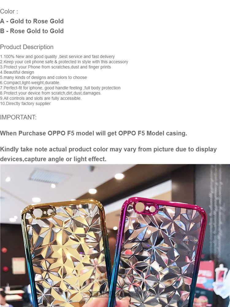 OPPO F5 3D Shape Diamond Shape Soft Tpu Case Back Cover