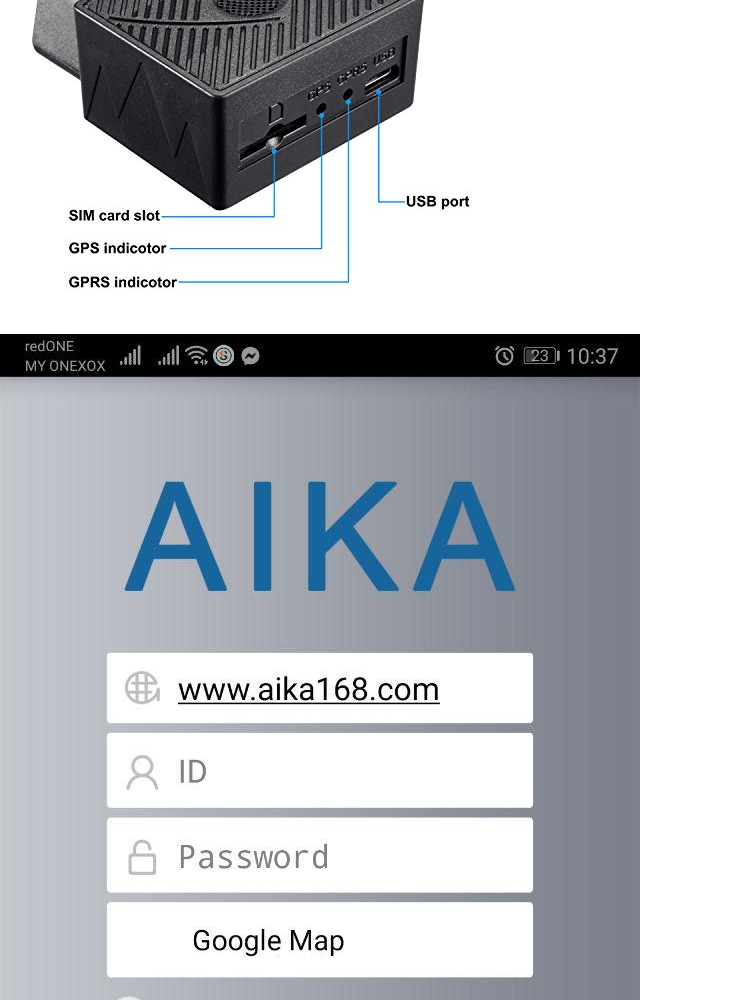 FREE DATA [Malaysia - Google Maps] AIKA OBD2 GPS Tracker Tracking Device  GPRS GSM Locator Location Checking Via OBD II Port FREE APP