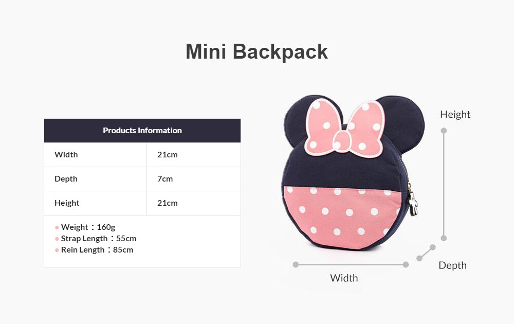 Mamaway Disney Mother & Baby Backpack With Safety Harness (Pink)