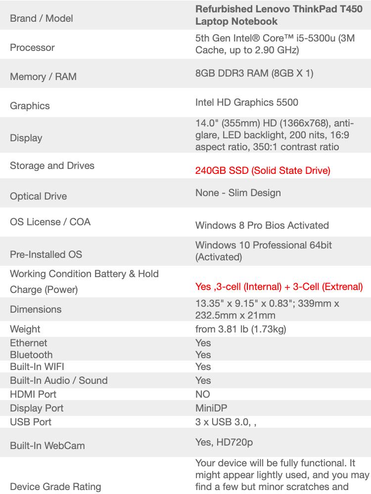 Refurbished Lenovo Thinkpad T450 Dual Battery (i5 5th Gen 2 3Ghz / 8GB RAM  / 240GB SSD /Win 8 Pro COA / WIn 10 Pro / Bag )(3 Month Warranty for Laptop
