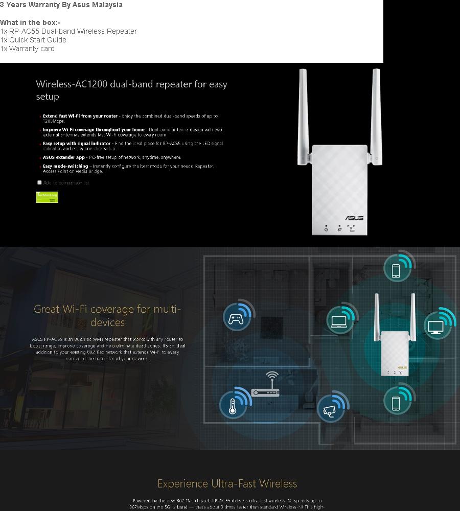 Asus AC1200 WiFi Repeater Wireless Range Extender RP-AC55 Dual-Band  Wireless Repeater RP AC55 (Free Cat6 Cable)