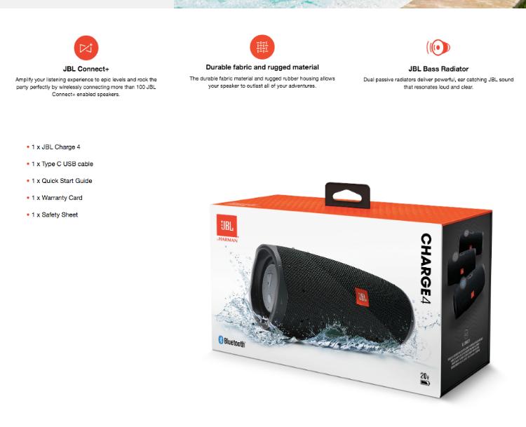 JBL Charge 4 Portable IPX7 Waterproof Wireless Bluetooth Speaker - Original  Authentic JBL 1 year warranty