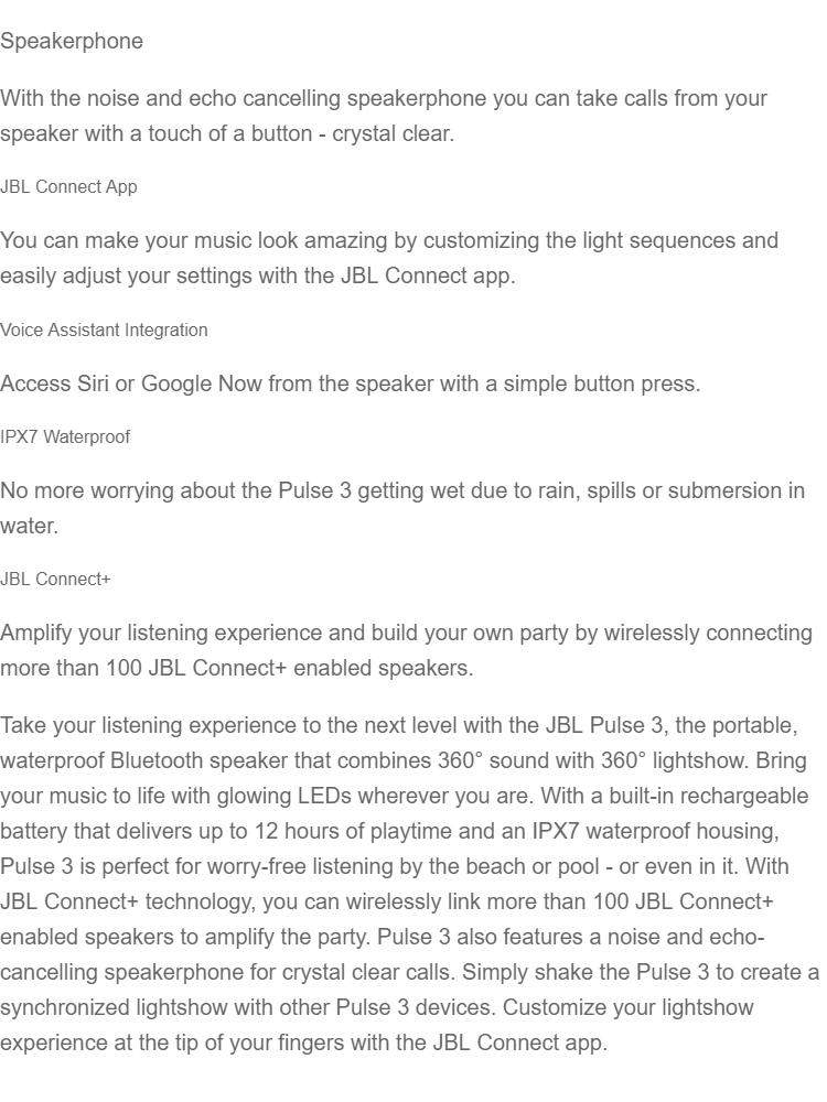 JBL Pulse 3 Waterproof Portable Bluetooth Speaker With Light Show - Black