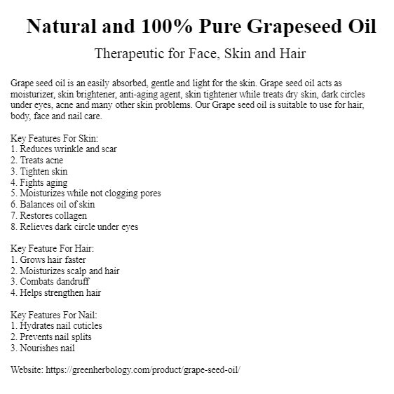 Pure Grapeseed Oil, Cold Pressed, Natural Carrier Oil 100ml