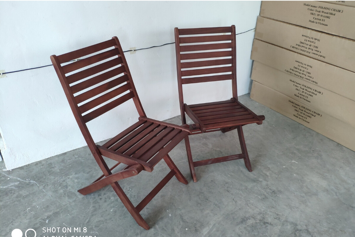 Ipro Outdoor Wooden Chair Patio Garden Dining Chair 2 Pcs Solid Wood Folding Chairs