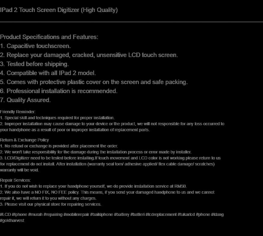 Ipad 2 Touch Screen Digitizer