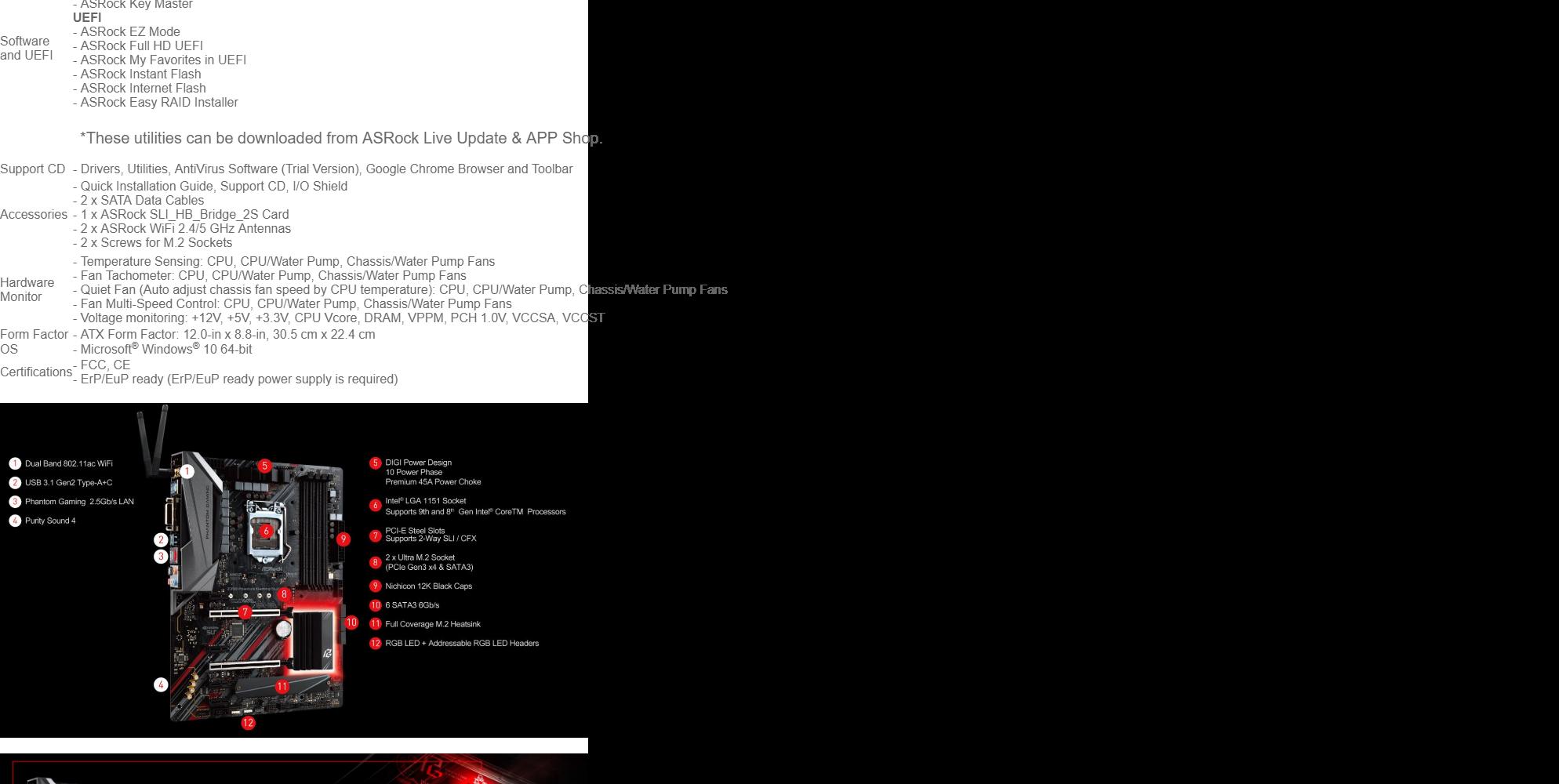 ASROCK Z390 PHANTOM GAMING SLI/AC MOTHERBOARD (LGA 1151)