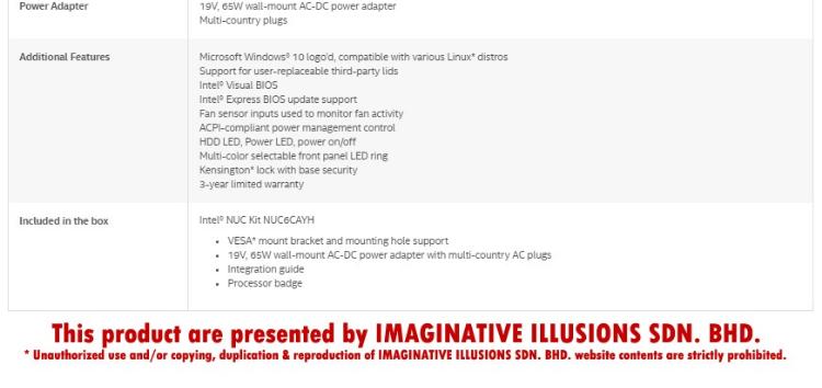 Intel NUC6CAYH/8/240SSW10P Celeron 1 5GHz~2 3GHz Quad-Core Mini PC / Intel  NUC + Windows 10 PRO