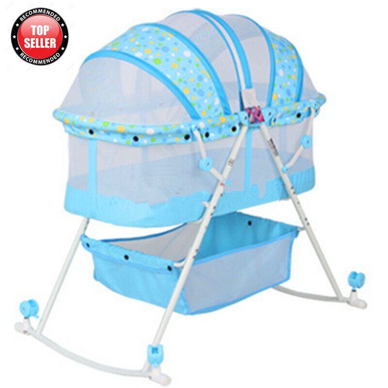 BBH 273 Baby Multi Function Foldable Rocking Bed (Sky Blue)