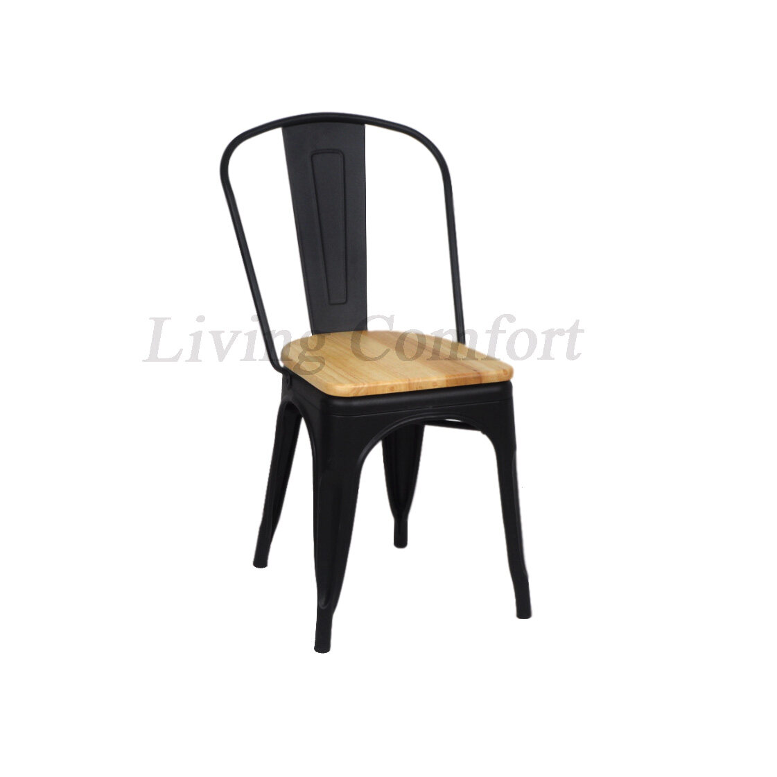 TOLIX METAL DINING / RESTAURANT / CAFE / SIDE CHAIR with wooden seat (SET  OF 6)