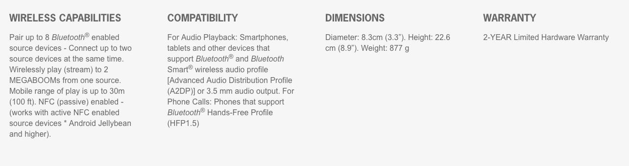 Ultimate Ears UE MEGABOOM - Waterproof Wireless Bluetooth Portable Speaker  (20 HOURS PLAYTIME)
