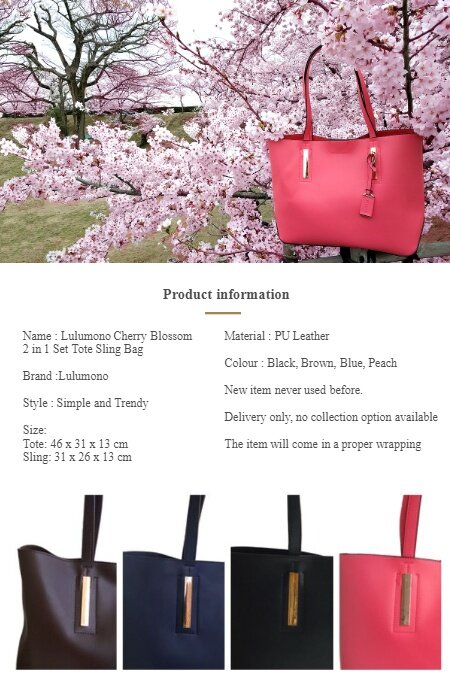 1 xLulumono Cherry Blossom 2 in 1 Set Tote Sling Bag