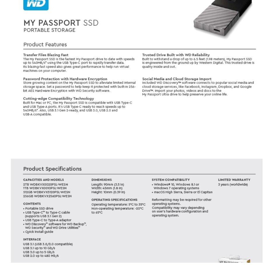 Western Digital WD Passport SSD 256GB/512GB/1TB/2TB Portable Storage USB  3 1 External Hard Disk