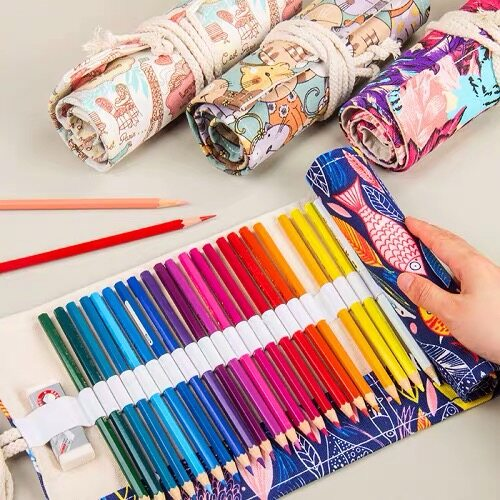 Home Aid72 Slots Canvas Wrap Roll Up Pencil Bag Pen Case Colored Pencil Case Storagepencils Are Not Included