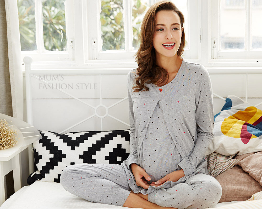 Prefect for pregnancy   feeding. Mamaway Mickey Dotty Maternity   Nursing  Pajamas   Sleepwear Set 611af6d16d