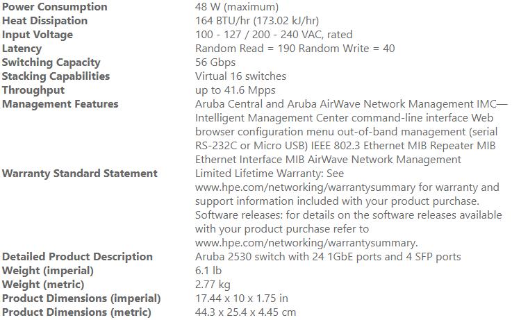 HP ARUBA J9776A: ARUBA 2530 24G 24 PORT 10/100/1000MBPS C/W 4XSFP SWITCH