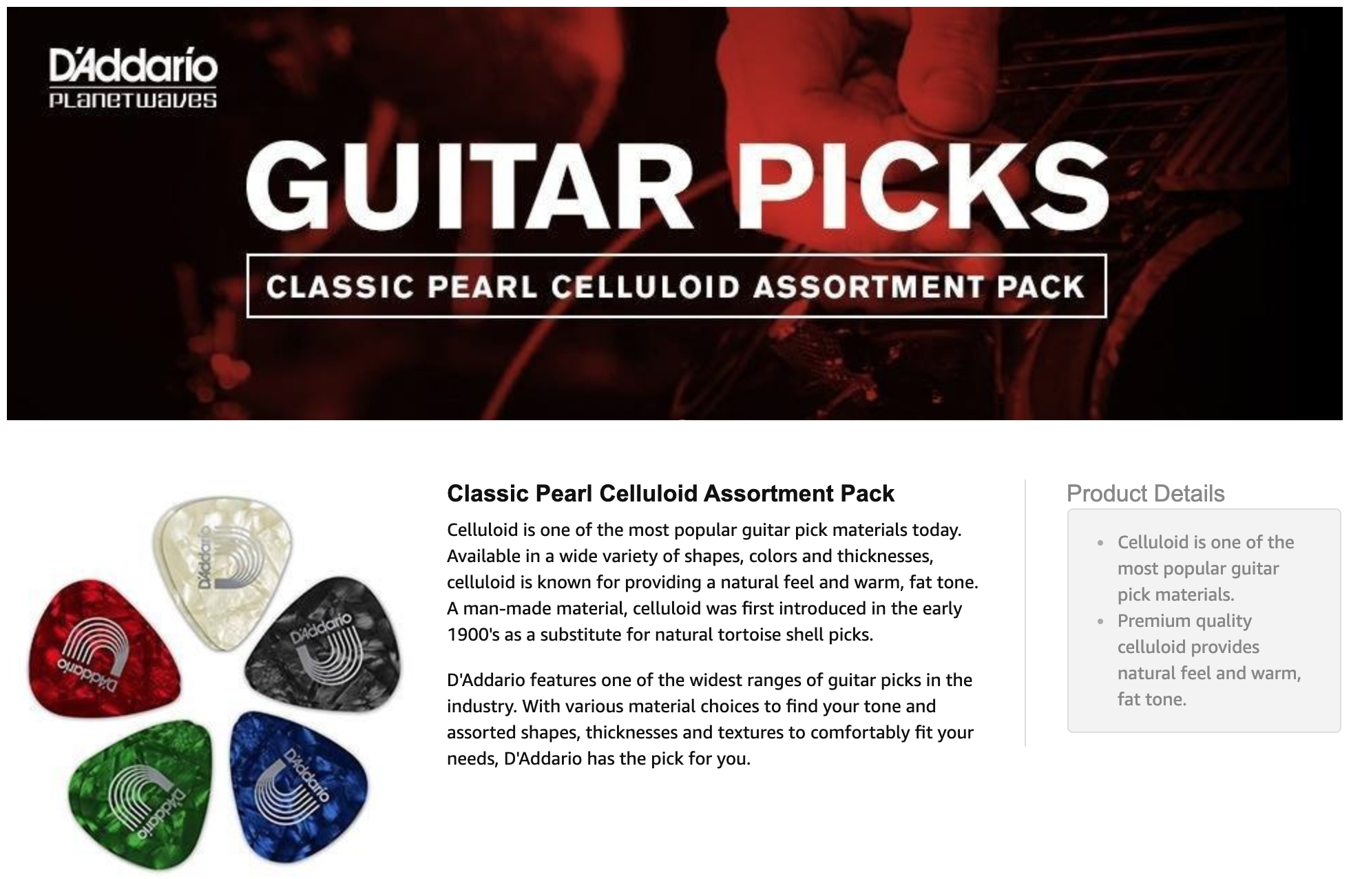 D/'Addario Assorted Pearl Celluloid Guitar Picks 10 Pack Medium