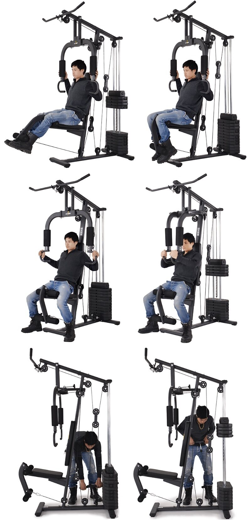 F multi function home gym station fitness workout press machine
