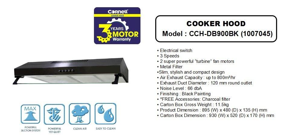 CORNELL SLIM COOKER HOOD CCH-DB900BK | BANHUAT COM