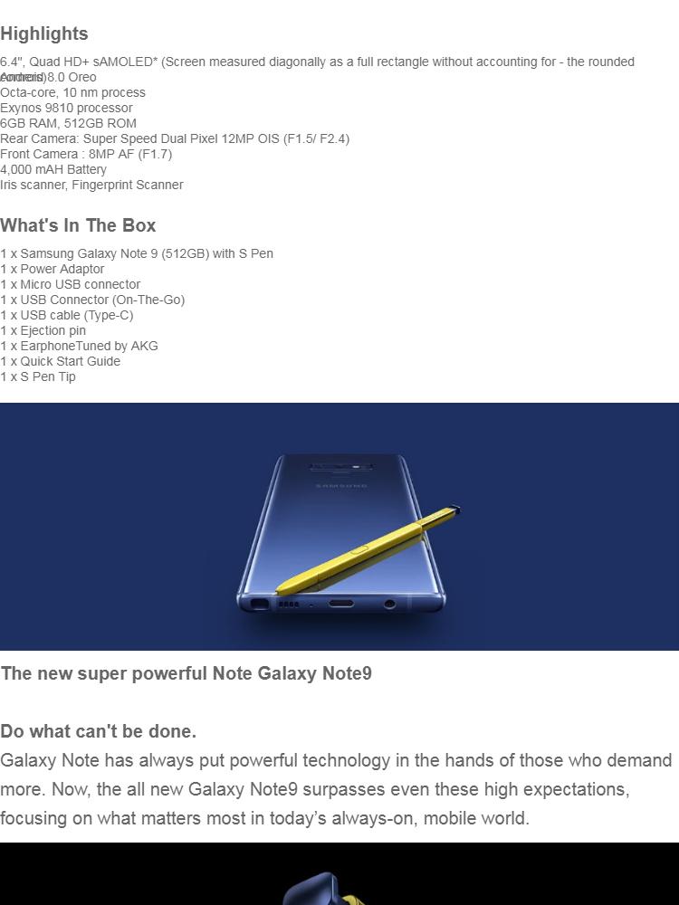 Samsung Galaxy Note 9 8GB / 512GB Original Samsung Malaysia Warranty