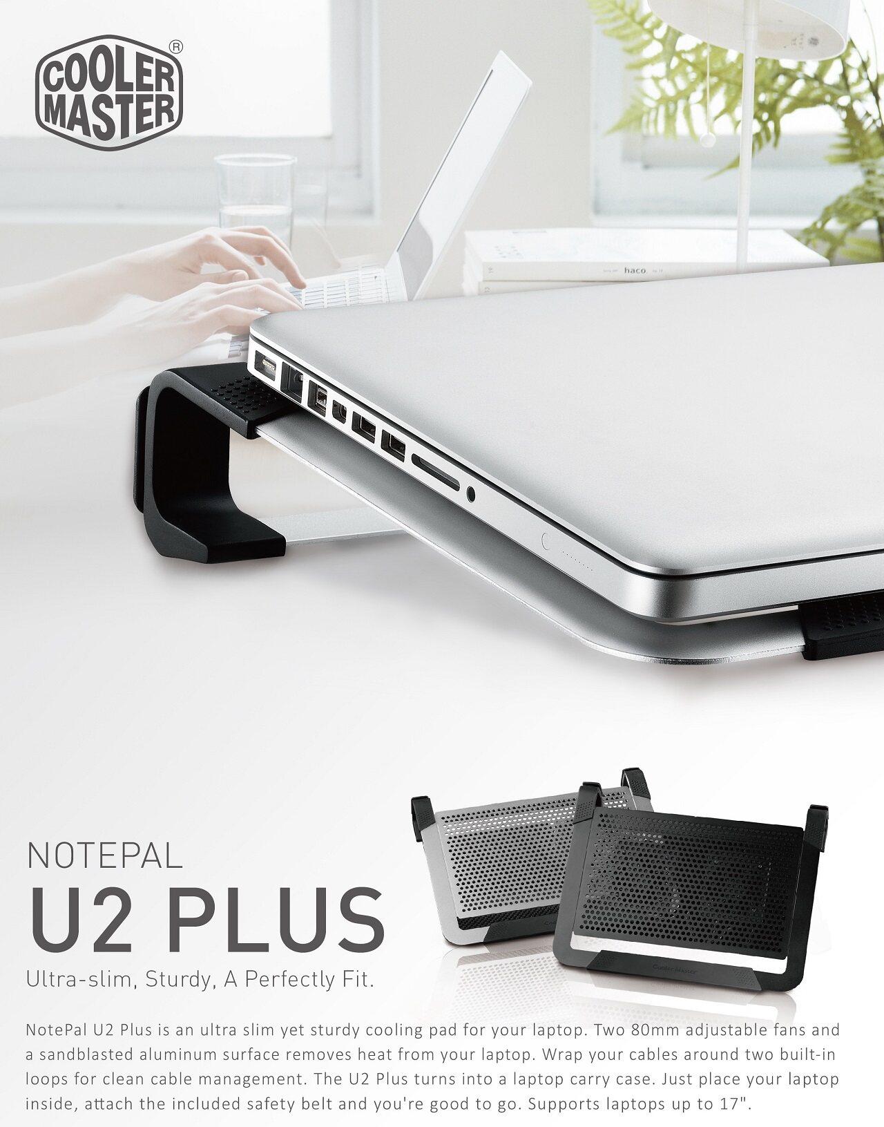 fb5fa180e4 Specifications of Cooler Master Notepal U2 Plus Aluminum Slim Professional  Notebook Cooler (Black)