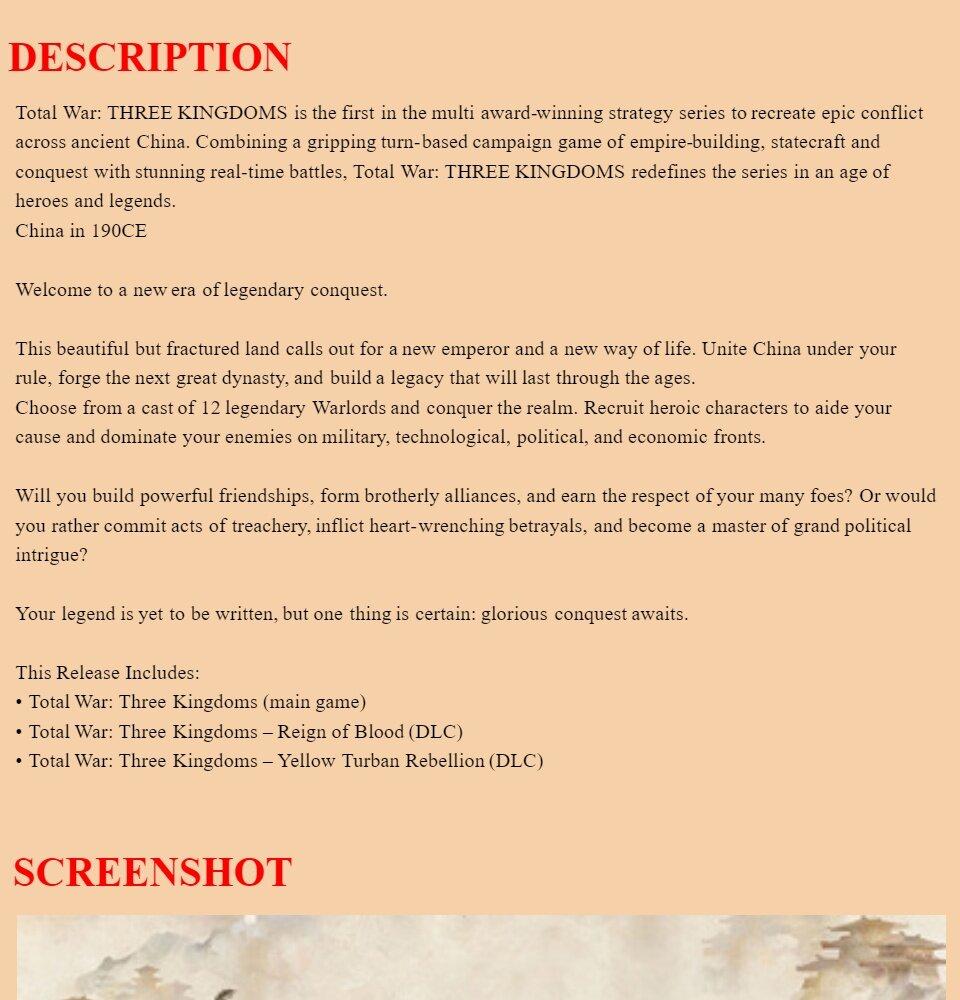 Total War Three Kingdoms - Offline PC Game with DVD