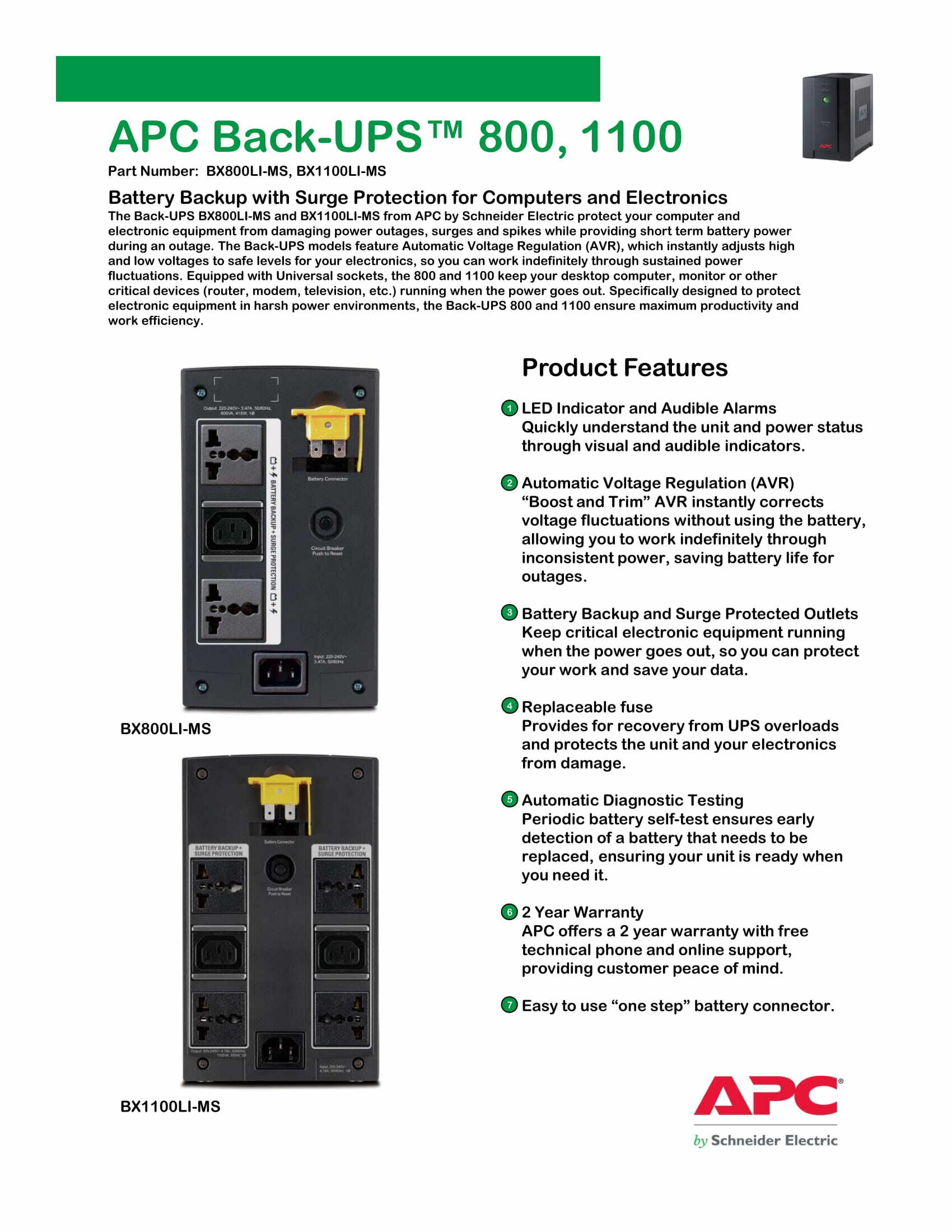 APC 800VA UPS BACKUP BATTERY 230V (BX800LI-MS) AVR AVS AUTOMATIC VOLTAGE  STABILIZER REGULATOR WITH 2 UNIVERSAL OUTLETS & 1 IEC SOCKET AND  REPLACEABLE