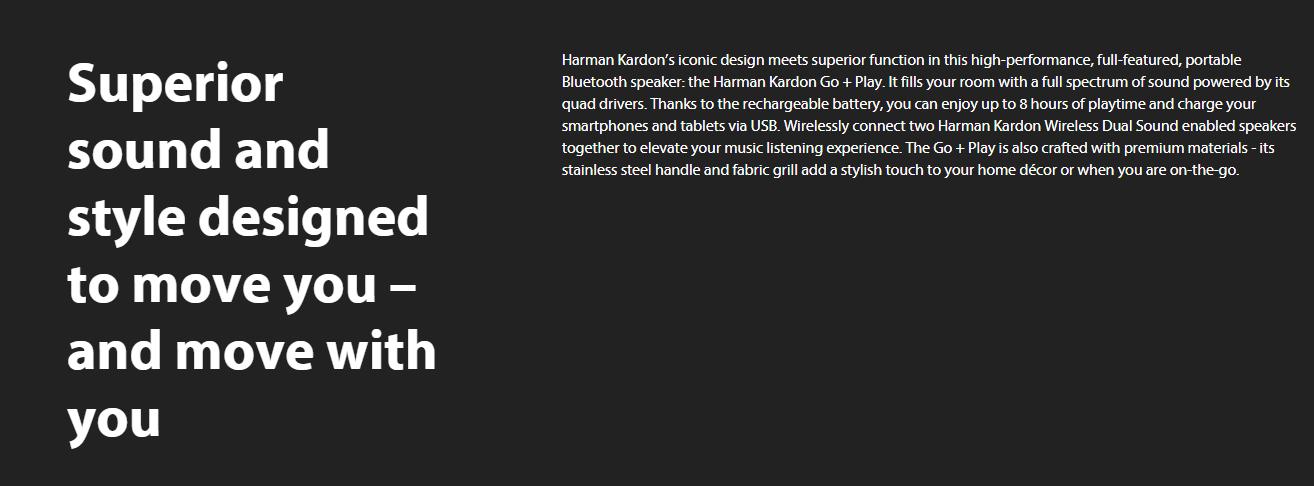 Harman Kardon Go + Play Portable Bluetooth Speaker (Black)